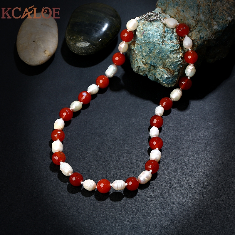 KCALOE Red/White Natural Onyx Stone Handmade Necklaces For Women Collane Donna Semi-Precious Stones Beaded Pearl Necklace