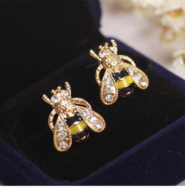 Cute animal small bee enamel Rhinestone Insect CZ diamond stud earrings/2016/brincos/boucle d'oreille/bijoux femme