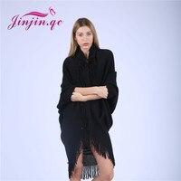 Jinjin.QC Tassel Ponchos Acrylic Shawl Wool Poncho For Women Winter Knitwear cape solid color shawls with sleeves wraps echarpe