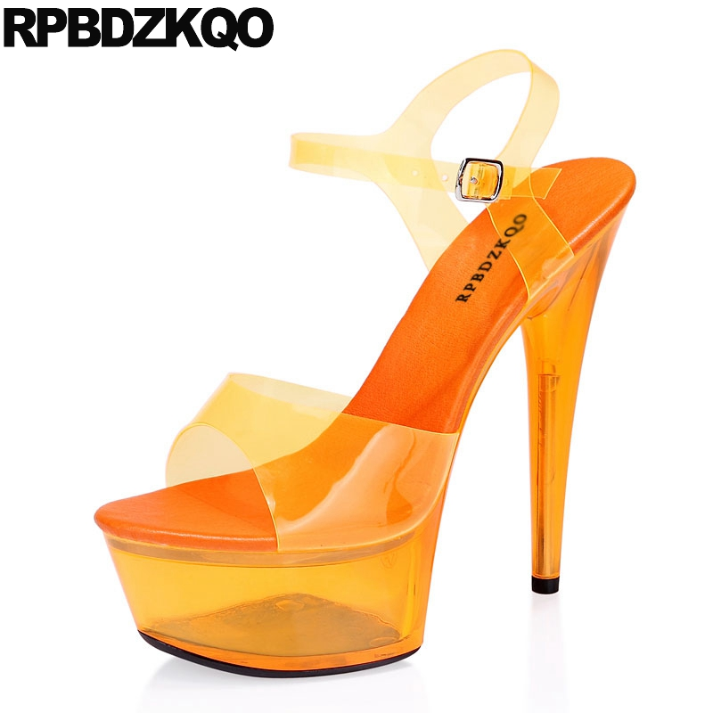 bdd13647759 Orange Plastic Crossdressed Shoes Stripper Double Strap Sandals Plus Size Sexy  High Heels Pumps Women Stiletto