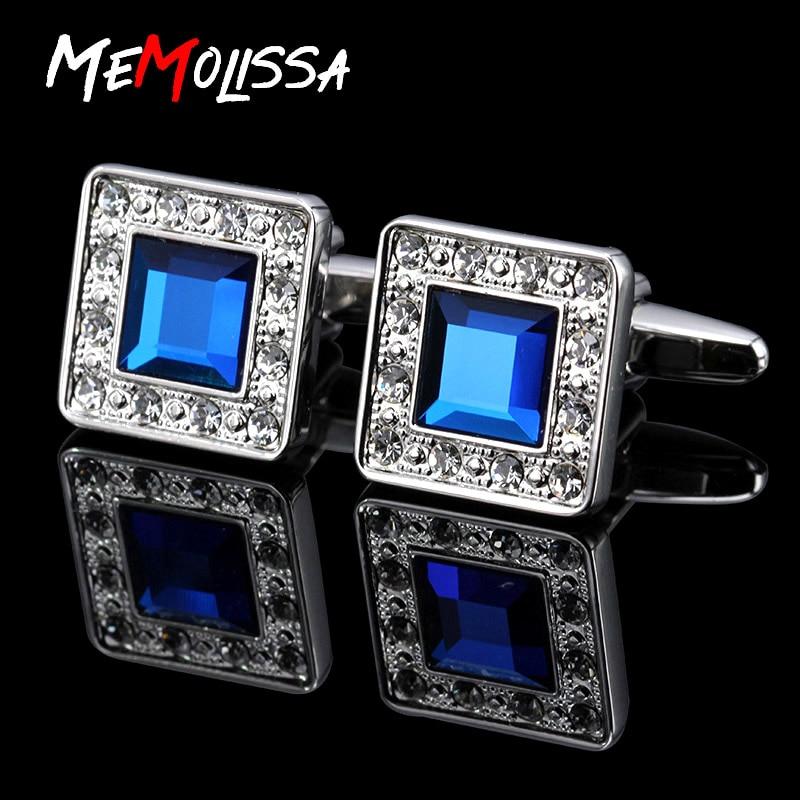 Memolissa Shirt Cufflinks Jewelry Crystal Classic High-Quality Mens Brand for Blue Abotoaduras