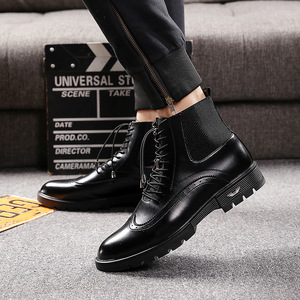 Image 4 - mens casual breathable cow leather boots black ankle boot chelsea booties carving bullock shoes gentlemen brogue shoe zapatos