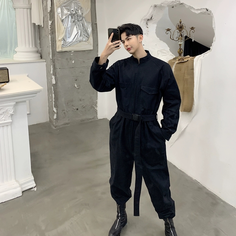 Multi-pocket Jumpsuit Mens Fashion Hip Hop One Piece Overalls Spring Autumn Youth Casual Tooling  Long Sleeved Trousers DS50401