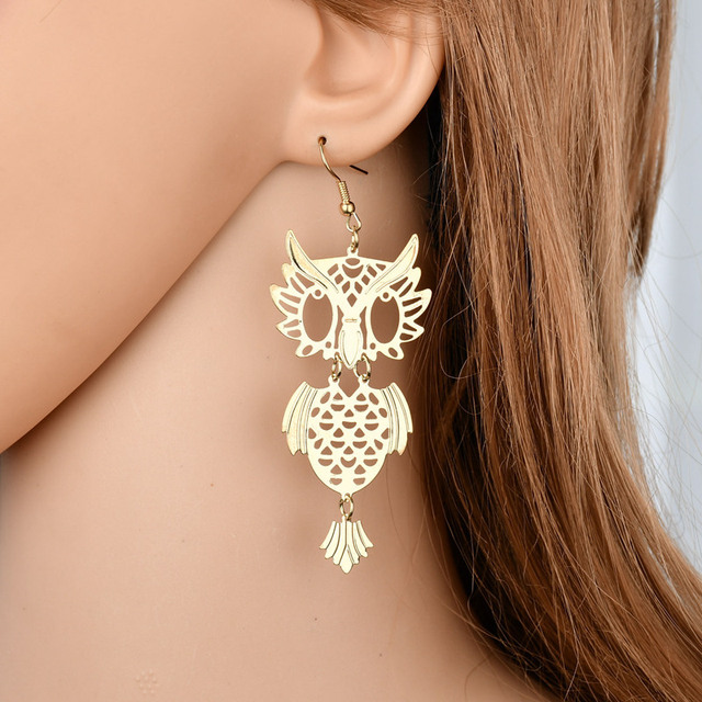 2018 New Hot Bohemian Hollow Owl Dangle Earrings For Women Gift Old Vintage Animal Hanging