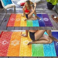 1 pçs borlas único arco íris chakra tapeçaria toalha mandala boho listras viagem tapete de yoga tapeçaria|Tapeçaria| |  -