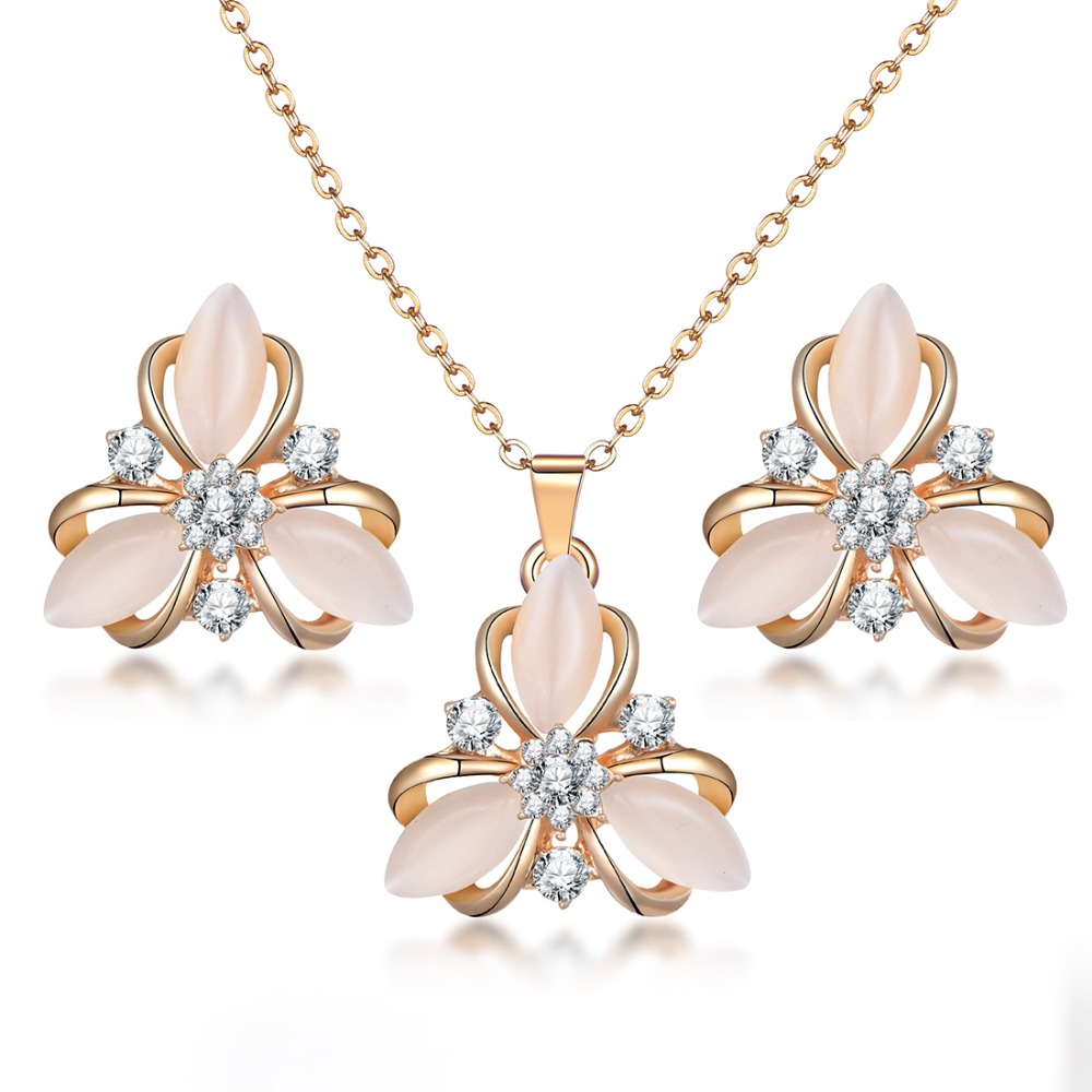 Bridesmaid Flower Pendant Rose Gold Stainless Steel Pendant Neckalce With High Quality Heart Necklace and Earring For Women