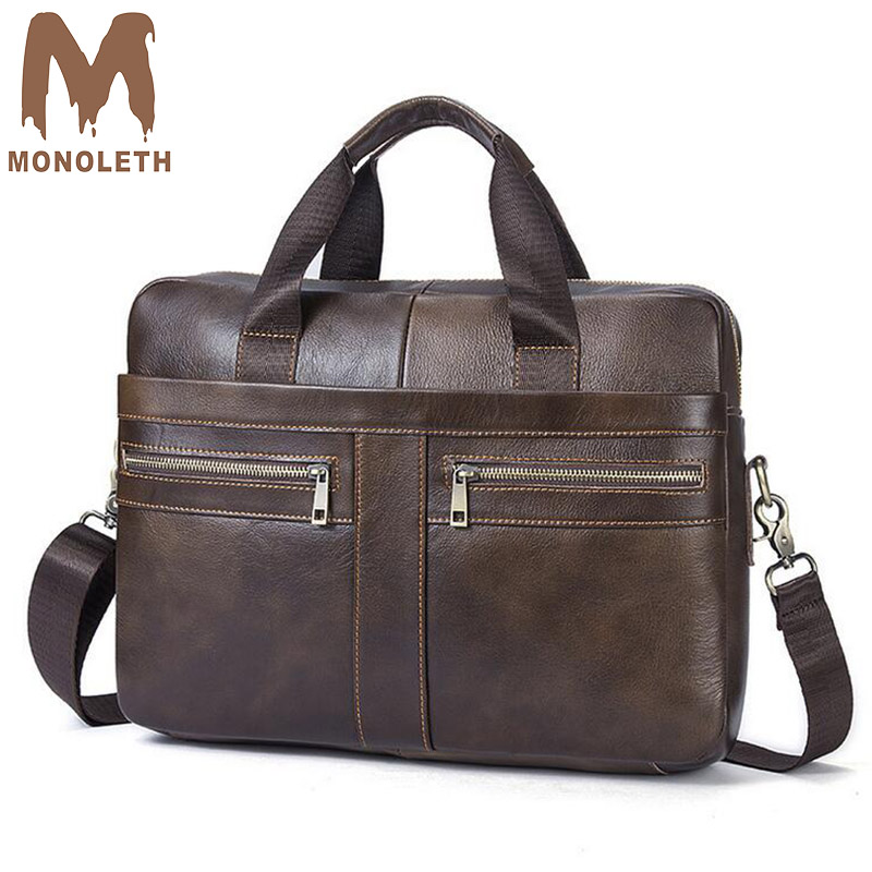 MONOLETH Genuine Leather Briefcase men Business Fashion Messenger Bag 14′ Laptop Bag Crossbody Bags Tote casual