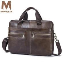MONOLETH Genuine Leather Briefcase men Business Fashion Messenger Bag 14 Laptop Bag