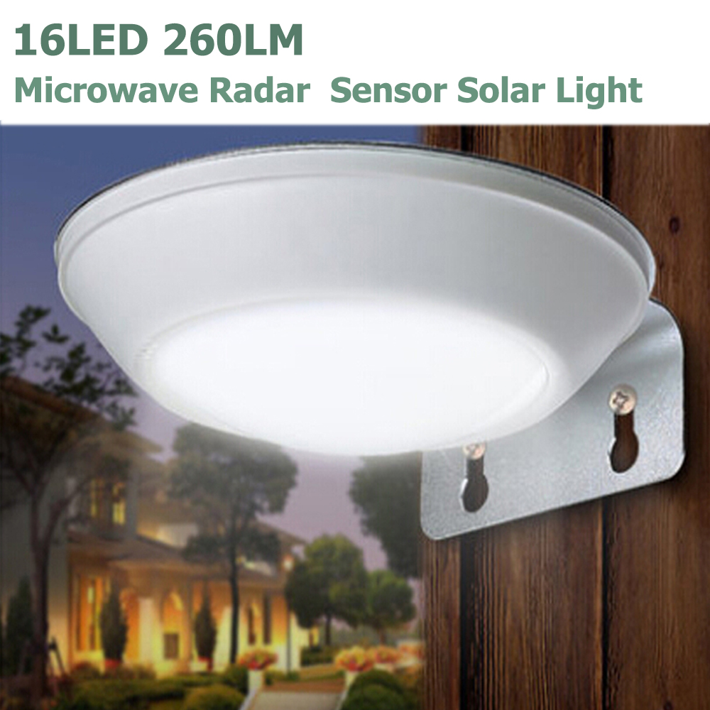 16LEDS 260LM Microwave Radar Motion Sensor LED Solar Light Waterproof IP65 Street Lamp Outdoor Wall Security Spot Lighting