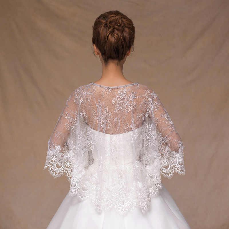 Elegant Boat Neck Wedding Bolero Lace Appliques Women Cape Beaded Wedding Shawl Vintage Bridal Wrap Wedding Accessories
