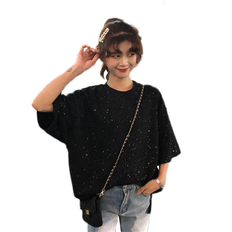 Printemps Eté hauts Femmes 2019 Nouvelle Mode Lâche Coréennes à Manches Courtes T-Shirt Grande Taille décontracté Femme Chemise Marée Vs524