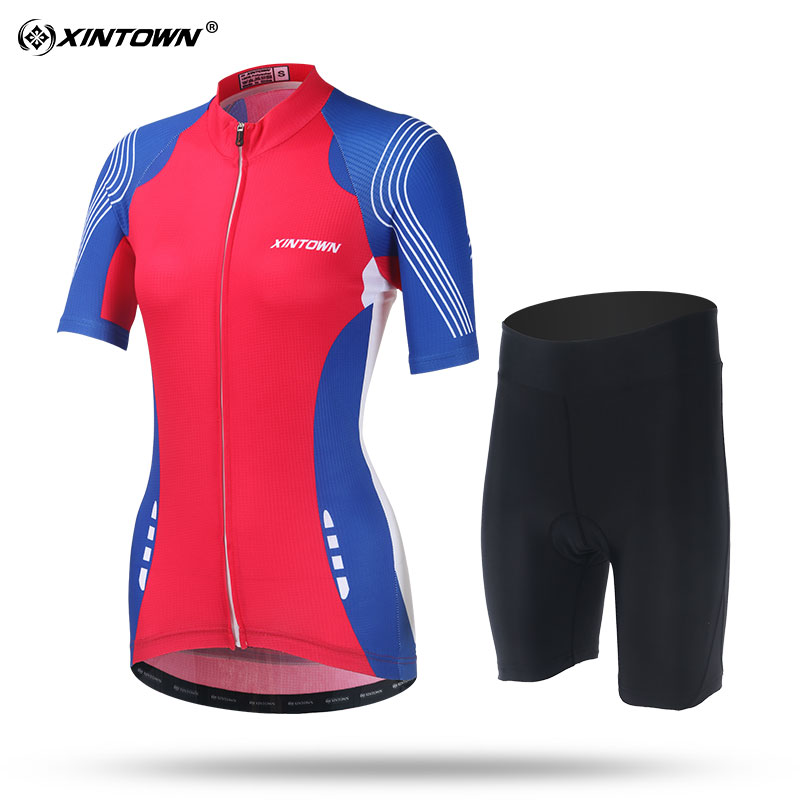 XINTOWN Red with Blue Short Sleeve Cycling Jersey Set Comfortable MTB Bike Clothing Bicycle Jerseys Women Pro Road Clothes