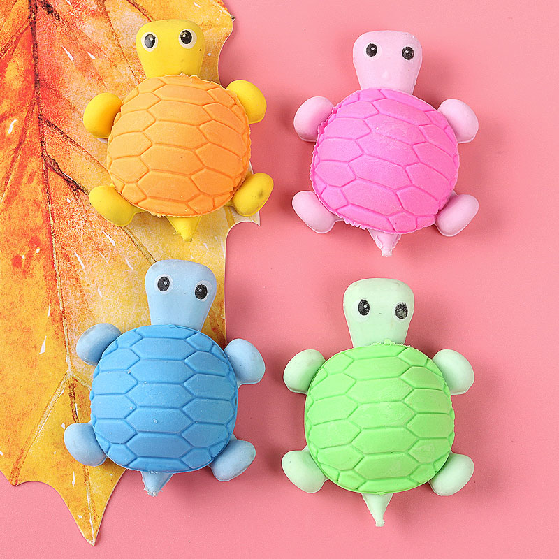 1x Kawai turtle lovely animal cartoon eraser / removable student gift school rewards toys