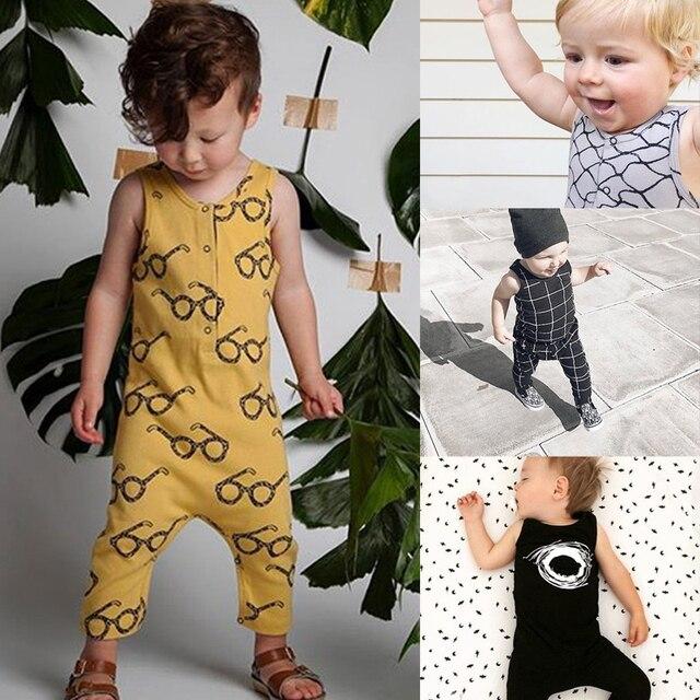RP-167 Baby Strampler Tiny Baumwolle Neugeborenen Jungen Mädchen Kleidung Gedruckt Sonnenbrille Sommer Kleidung Sleeveless Bobo overalls Wählen