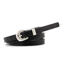 Badinka 2018 New Vintage Silver Western Buckle Belt Cowgirl Waistband Thin Pu Leather Skinny Waist Belts