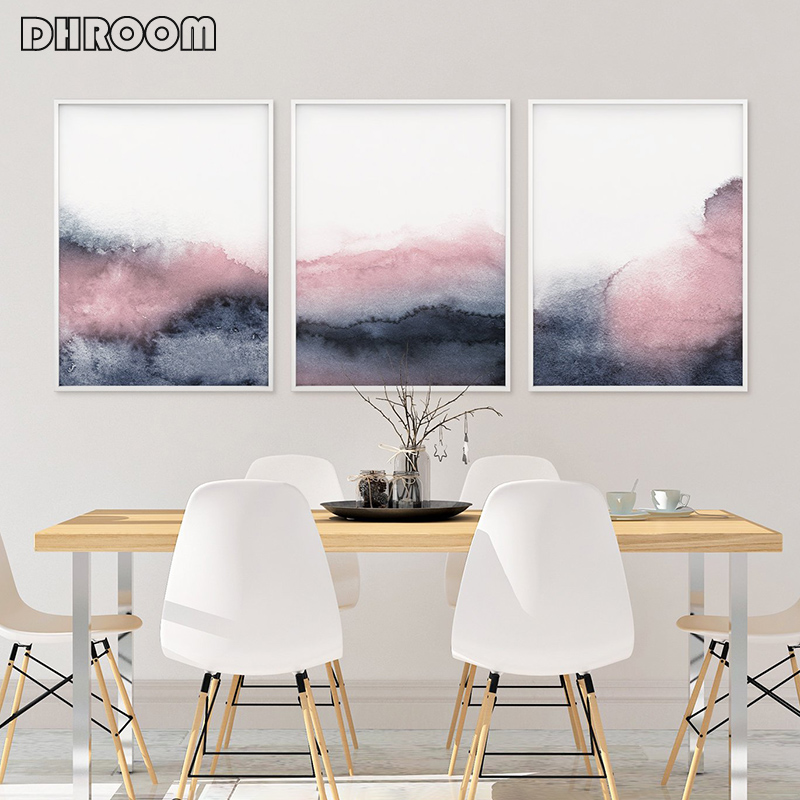 Pink Blue Abstract Poster Prints Blush and Grey Wall Art Canvas Painting Nordic Scandinavian Picture for Bedroom Decor