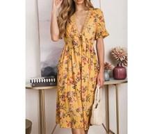 купить 2019 Summer Women V-Neck Lace Up Print Dress Flare Sleeve Lace Embroidery Boho Dresses Hollow Out A-Line Beach Dress по цене 1324.77 рублей