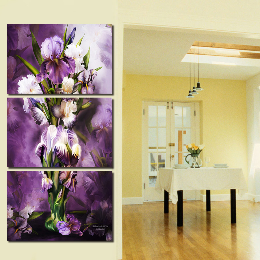 Painting By Numbers 4 Panel Beautiful Flowers On Canvas For Kitchen ...