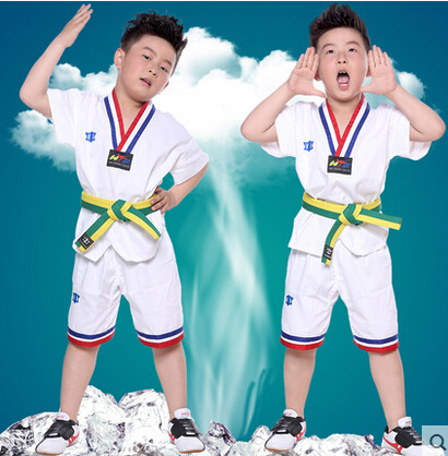 Children Summer Short Sleeved Taekwondo Uniforms Children Adult Dobok Suits Children's Cotton Clothing