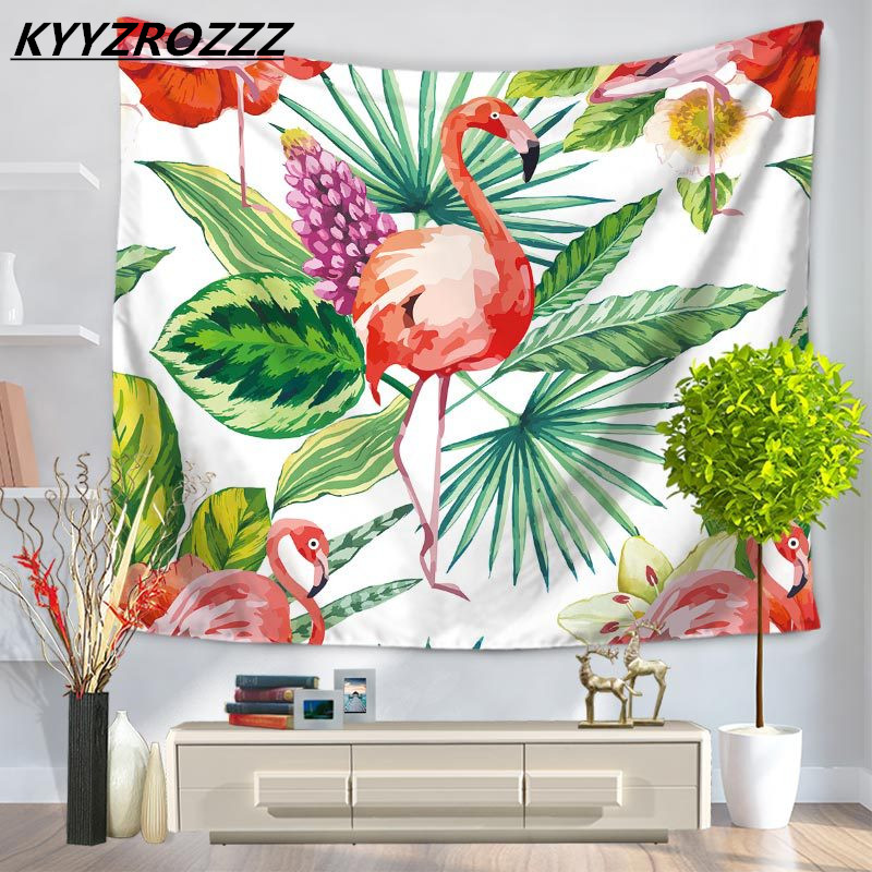 Miracille Tropical Leaf Flamingo Pattern Wall Art Hanging Tapestry Decorative Sofa Chair ...