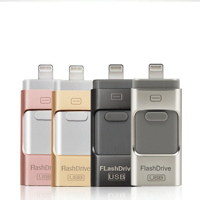 USB Flash Drive GB GB 32 16 8GB 64GB Para iPhone X/8/7/7 plus/6/6 s/5 ao Metal Pen Drive U Disk para iOS10 memory stick 128GB IOS9
