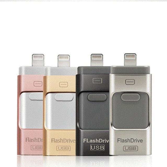 USB Flash Drive 8GB 16GB 32GB 64GB For IPhone X/8/7/7 Plus/6/6s/5  To Metal Pen Drive U Disk For IOS10 Memory Stick 128GB IOS9