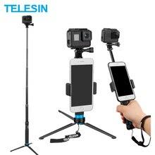 TELESIN Выдвижная палка для селфи из алюминиевого сплава со штативом и зажимом для телефона для GoPro Hero 5 6 7 8 Xiaomi Yi DJI Osmo Action