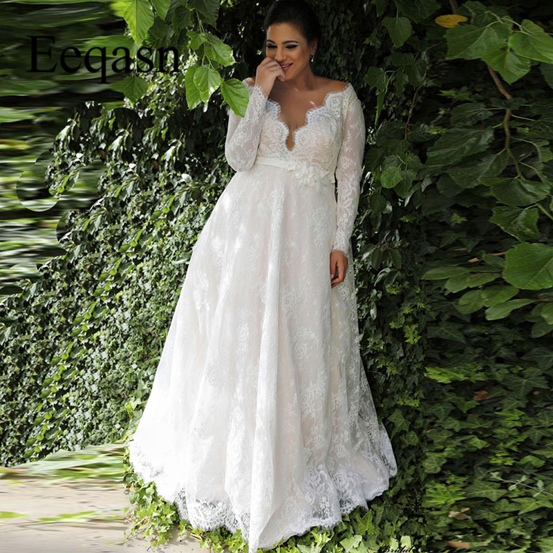 Wedding Gowns 2019 With Sleeves: Plus Size Lace Wedding Dresses 2019 Long Sleeve V Neck