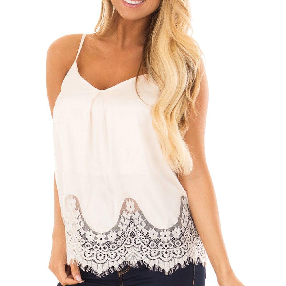 2018 Women Summer Lace Vest Top Sleeveless Blouse Casual Tank Loose Tops T-Shirt white tank tops women summer