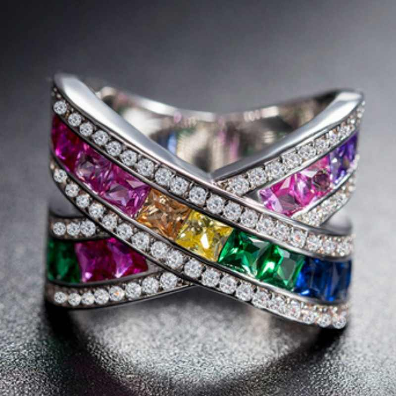 Color Crystal Engagement Rings for Women Luxury Jewelry Glamour Silver Color Ring Knot Wedding Ring Bague Anillos Mujer F5K726