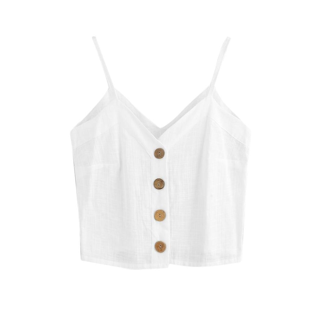 100% QualitäT Sommer 2019 Frauen Mode Sexy Weste Einreiher Taste Ärmellose Tops Solide V Neck Camis Crop Top Frauen Cropped Feminino