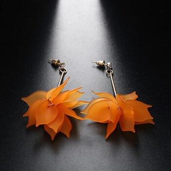 Women Colorful Elegant Crystal Flower Earrings 4
