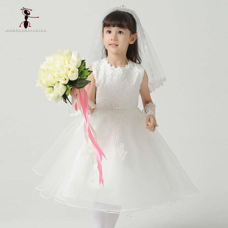 Kung Fu Ant 2017 Chiffon Mesh Cute Lace Mid-Calf Sleeveless White Flower Girls Dress for Wedding Party Summer Princess B0028
