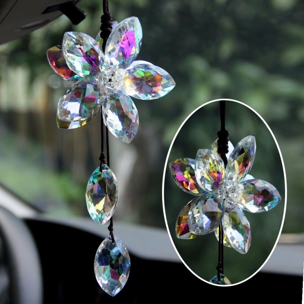 Beautiful Flower Car Pendant Lucky Hanging Ornament Car Interior Decoration