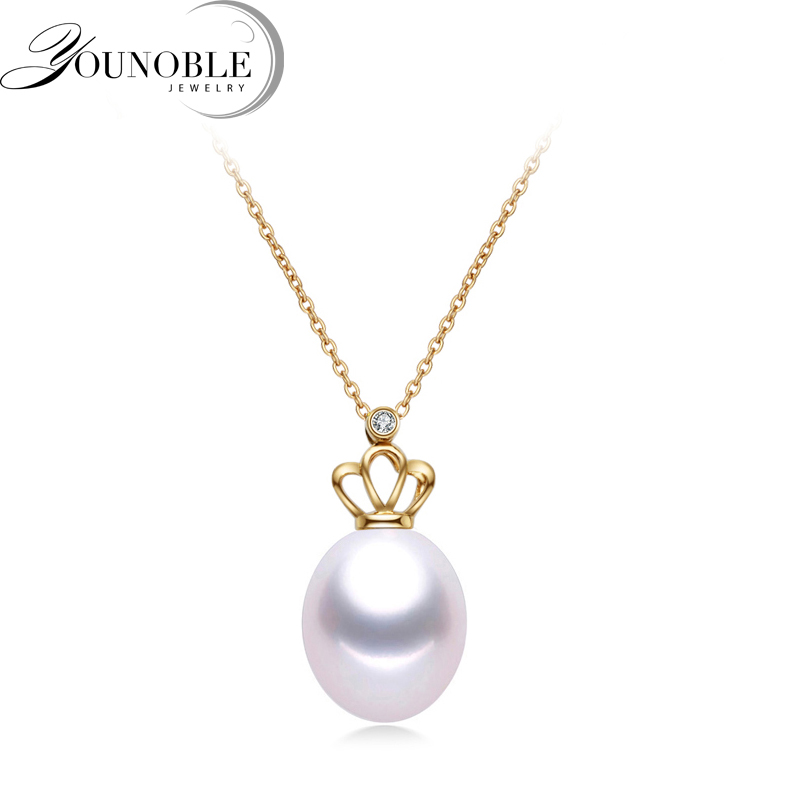 Genuine 18k yellow gold pendant for women with 925 sterling silver choker necklace freshwater pearls 9-10mm girls jewelry in box