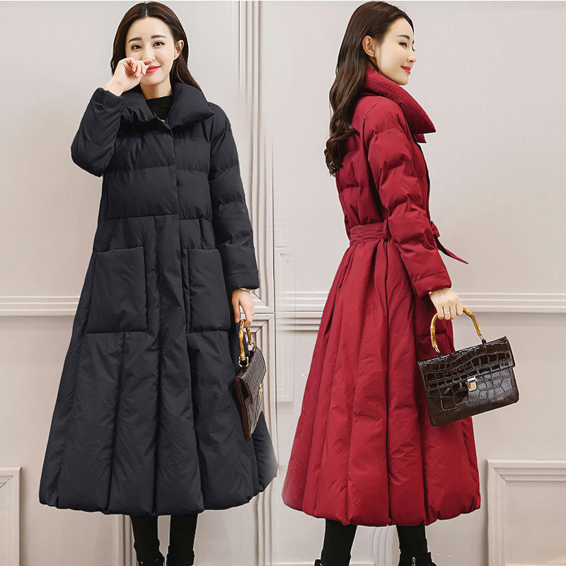 Women Winter Jacket Coat Elegant Slim Down   Parka   Coat Plus Size Long Warm Loose Hooded Coat Outerwear Thicken Tops Jacket Q608
