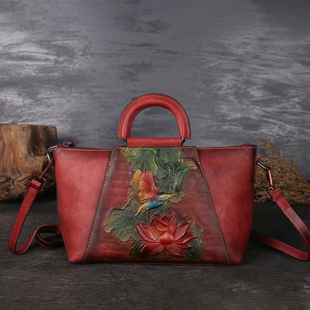 New Design Woman Handmade Vintage Genuine Leather Handbag Ladies Retro Shoulder Messenger Bag Cow Leather Hand