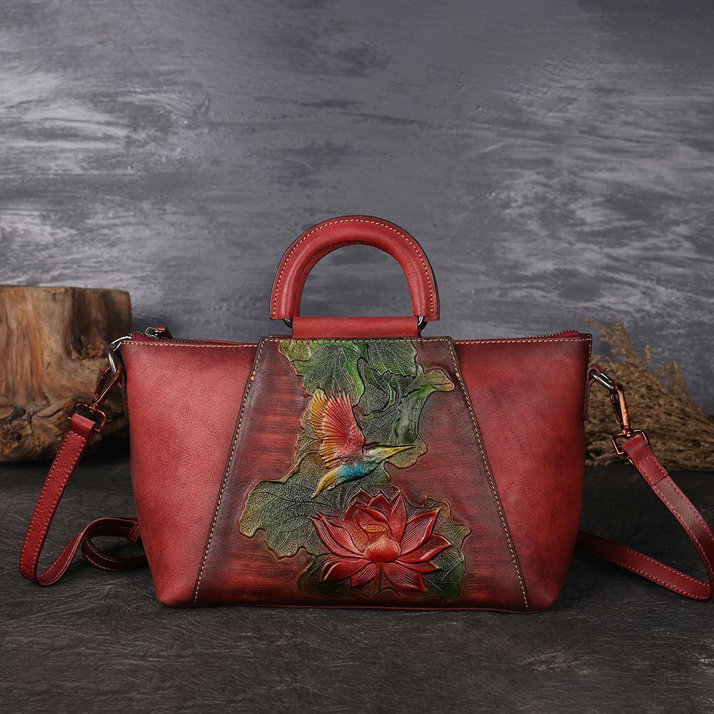 New Design Woman Handmade Vintage Genuine Leather Handbag Ladies Retro Shoulder Messenger Bag Cow Leather Hand-printed Women Bag vintage women genuine leather handbags ladies retro elegant shoulder messenger bag cow leather handmade womans bags