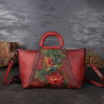 New Design Woman Handmade Vintage Genuine Leather Handbag Ladies Retro Shoulder Messenger Bag Cow Leather Hand-printed Women Bag leather