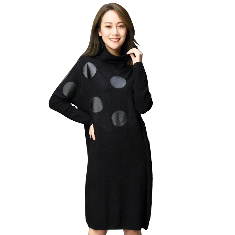2018 Autumn Winter New Fashion Women Knitted Sweater Dresses Plus Size Loose Polka Dots Knit Dresses kenneth cole new white black women s size medium m tunic rib knit sweater $88