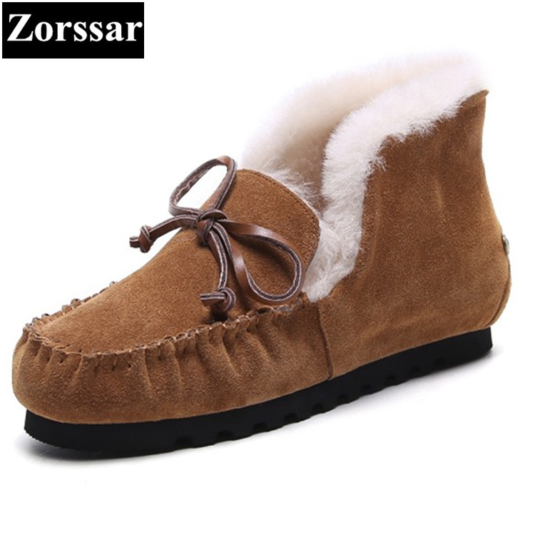 {Zorssar} 2017 Women Winter Boots cow Suede Ankle Snow Boots Female Warm Fur Plush Insole casual flats womens shoes Large size 2017 cow suede genuine leather female boots all season winter short plush to keep warm ankle boot solid snow boot bota feminina