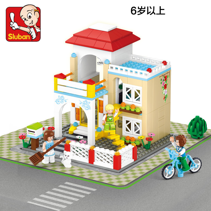 Sluban model building kits compatible with lego city villa 658 3D blocks Educational model & building toys hobbies for children sluban model building kits compatible with lego city fire 739 3d blocks educational model