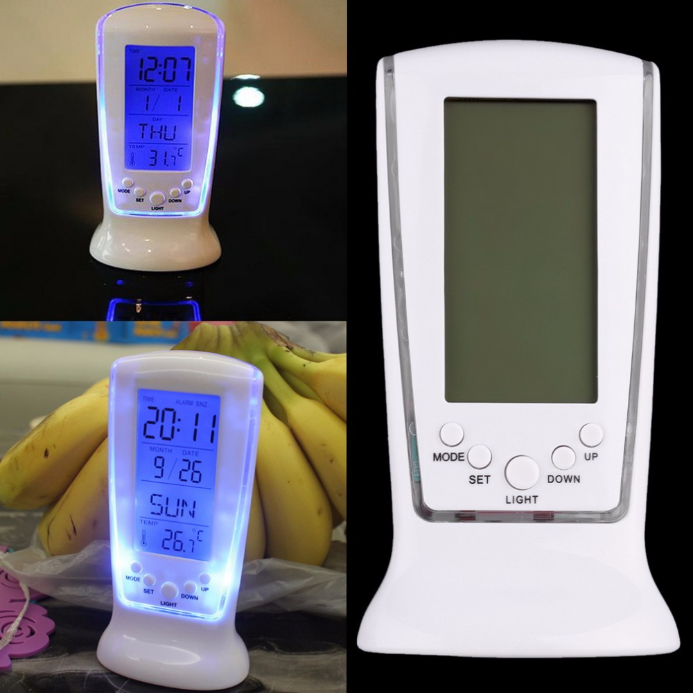 White Plastic Modern Square LCD Digital Alarm Clock Calender LED Display Battery Powered with thermometer