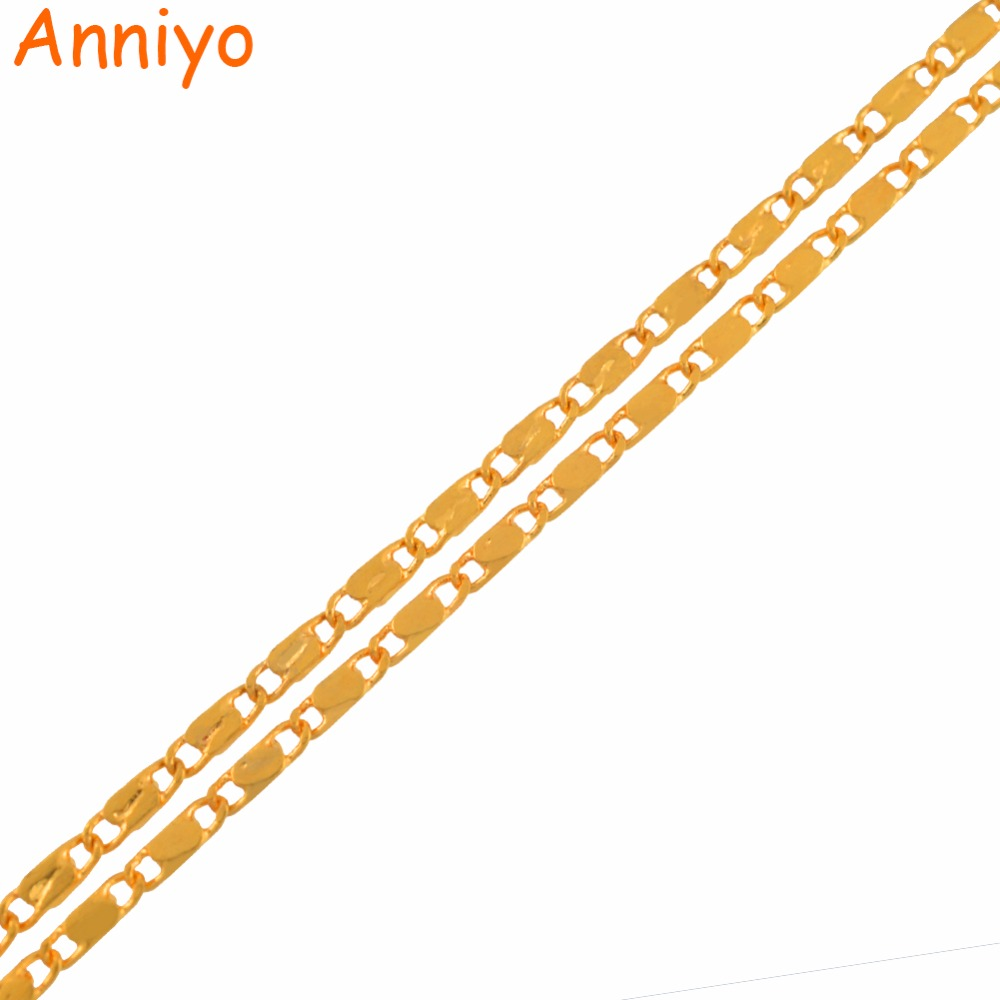 Anniyo Width 1.5MM Thin Chain Necklaces for Women Girls Gold Color Wholesale Jewelry #114506