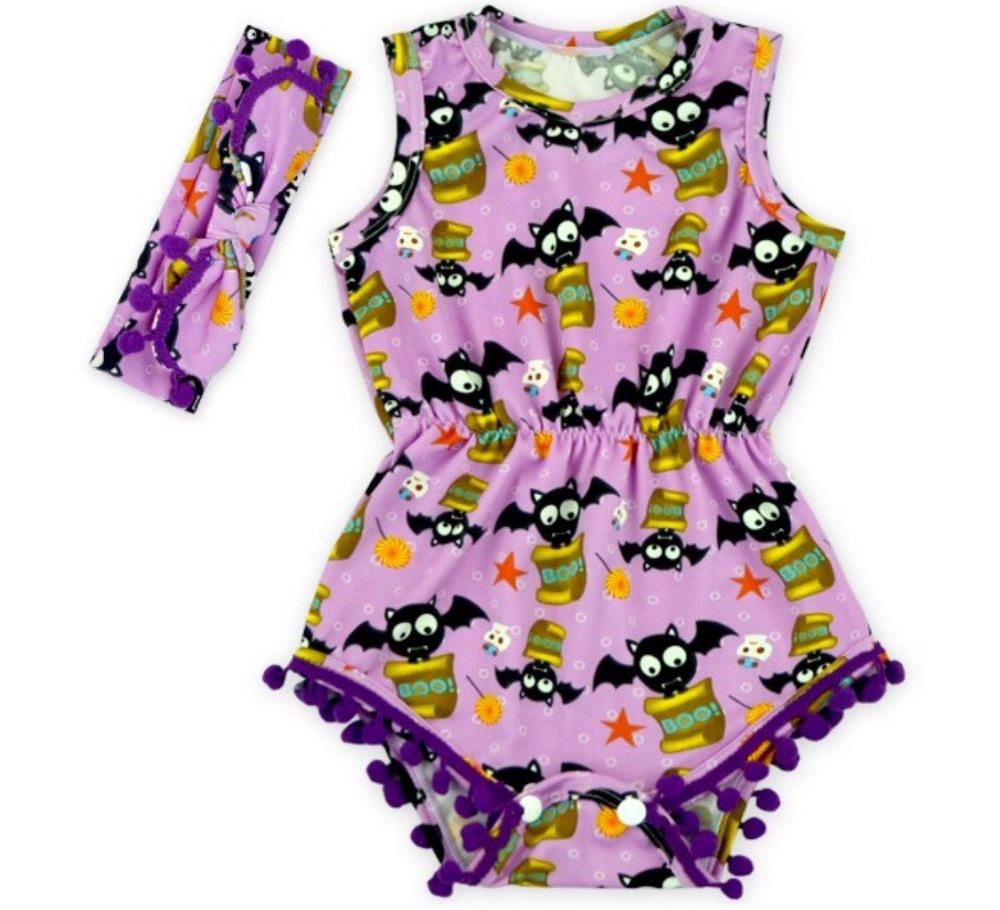 wholesale 2018 top sale baby girl halloween romper pretty romper with headband set all saints day romper newborn girl rompers in rompers from mother kids