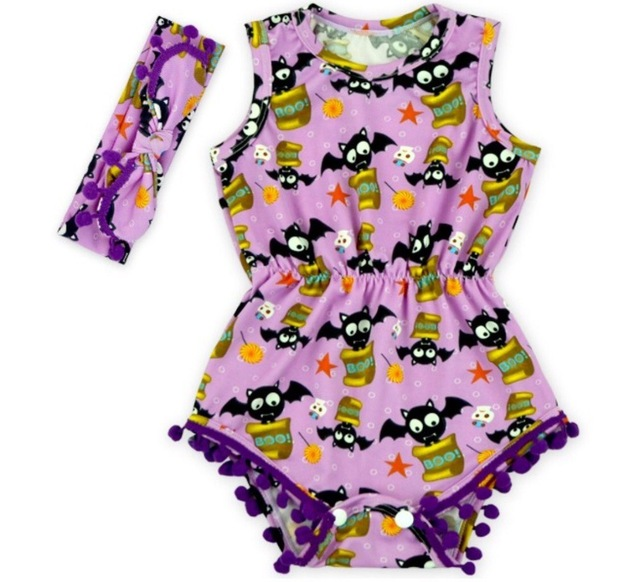 afbcf44c3 wholesale 2018 top sale Baby Girl halloween Romper Pretty Romper with headband  set All Saints' Day romper newborn girl rompers