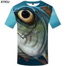 KYKU 3d Fish Shirt Men Slim Funny T Shirts Animal Tshirt Eye Print Metal T-shirt Hip Hop Fisherman Mens Clothing Summer
