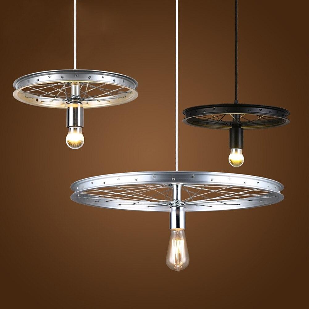 Conception de roue en fer forgé pendentif lampes lumières vintage éclairage industriel loft roue lampe bar