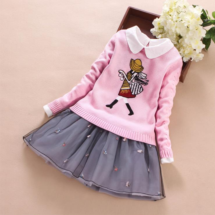 все цены на Europe and the United States 2018 autumn The new Parent-child outfit Long sleeve cartoon sweater + Lapel dress Girl's suit