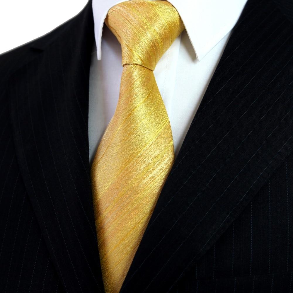 Velkoobchod pruhy zlatožluté pánské kravaty kravaty Hanky 100% hedvábí žakárové tkané příležitostné formální svatební doprava zdarma